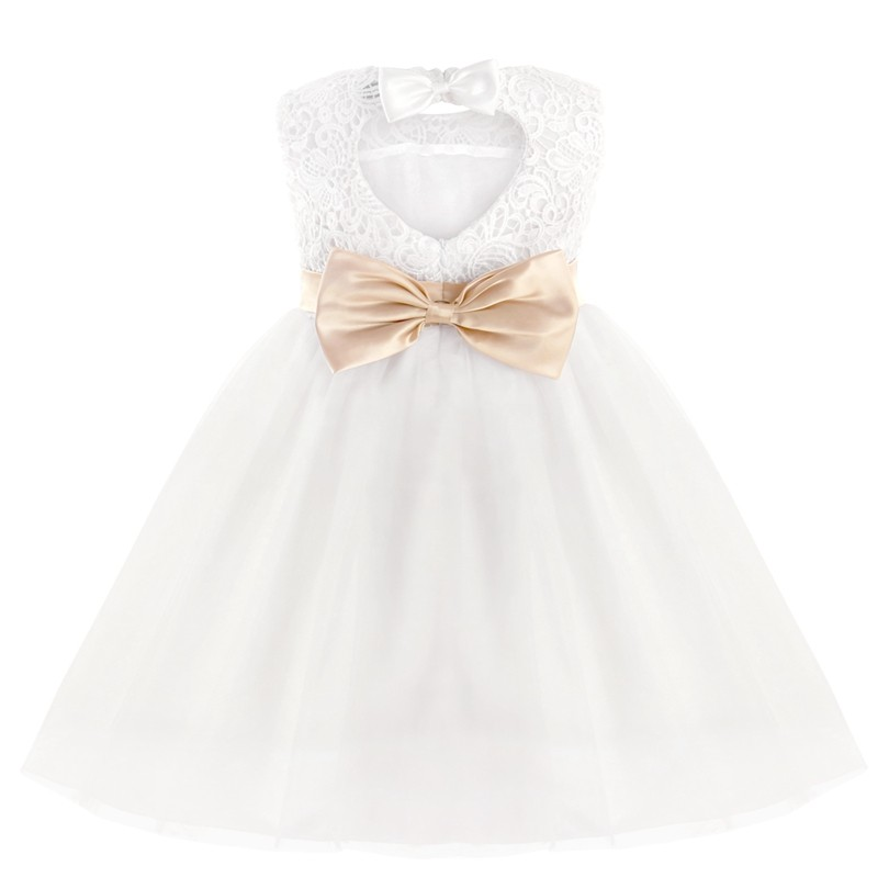 White Lace Bowknot Flower Girl Dress 2-12y