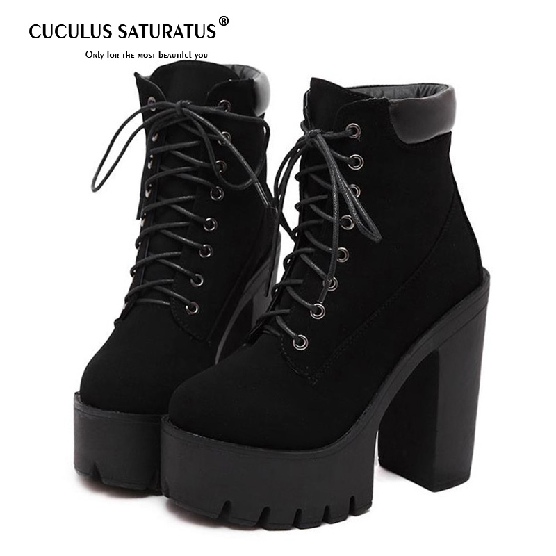 Cuculus Fashion Black Martin Boots Women Spring Autumn Lace-up Soft Leather Platform Shoes Woman Party Ankle Boots High Heels