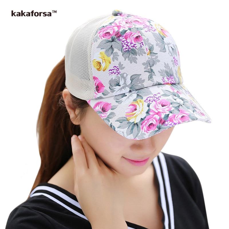 Prix pour Kakaforsa Femmes Fleur Impression Coton Casquettes de Baseball D'été Style Hip Hop Snapback Chapeaux de Haute Qualité Casual Floral Mesh Sun Chapeau