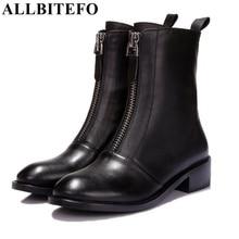 Allbitefo/модные одинарные туфли на низком каблуке на молнии ботильоны натуральная кожа с круглым носком на платформе Ботинки Martin на осень-зиму Женские ботинки