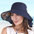 Sunbonnet esporte fora sol-shading feminino verão dobrável anti-uv sunbonnet grande chapéu de praia