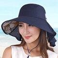 Sunbonnet femenino del verano plegable deporte fuera del sol-shading anti-ultravioleta sunbonnet gran sombrero de playa
