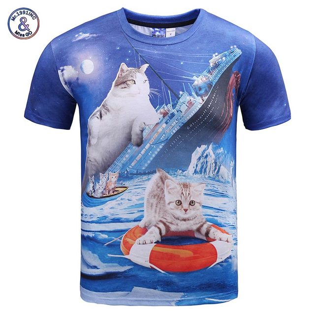 354060364 Mr.1991INC New Fashion men/women t-shirt 3d funny print Titanic big cat and  iceberg summer tops tees t shirt plus size XXXL