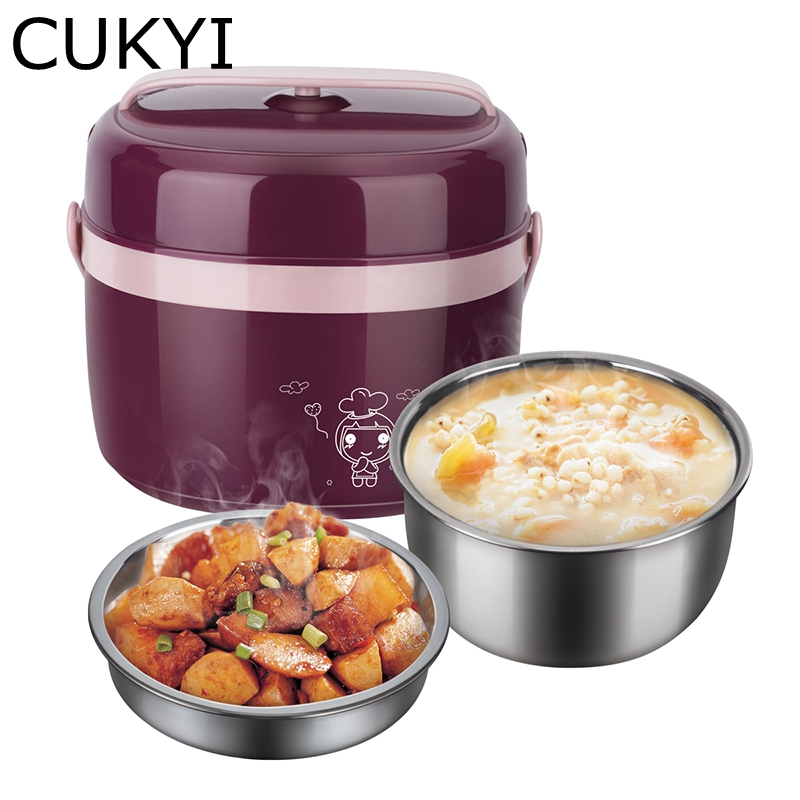 CUKYI 1L Mini Rice cooker 2 double layers multi-function heating cooking electric lunchbox used in house 220V breakfast steamer cukyi household electric multi function cooker 220v stainless steel colorful stew cook steam machine 5 in 1