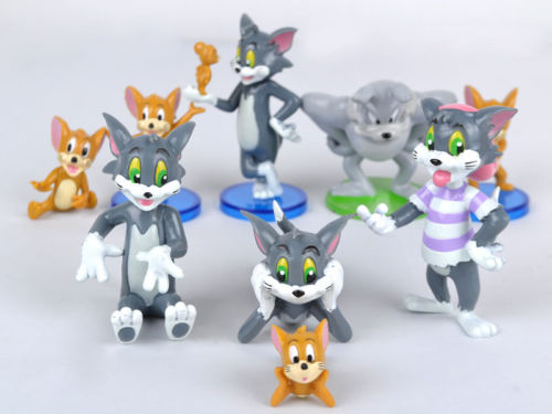 2017 New Hot Tom and Jerry figures Cat Mouse Dog Animals Toy 9pcs #K Kids Action Figure Toys Robot new lps lovely toys animal cartoon cat dog action figures collection kids toys gifts