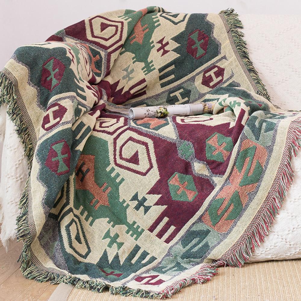 ESSIE maison canapé couverture vert Kilim tapis pour salon chambre tapis canapé couverture turc ethnique motif couvre-lit tapisserie