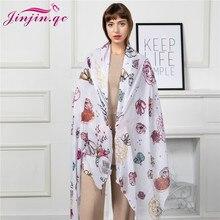 Jinjin.QC 2019  Fashion Scarves Ladies Floral Stylish Long Soft Viscose Chiffon Scarf Wrap Shawl Hot Item