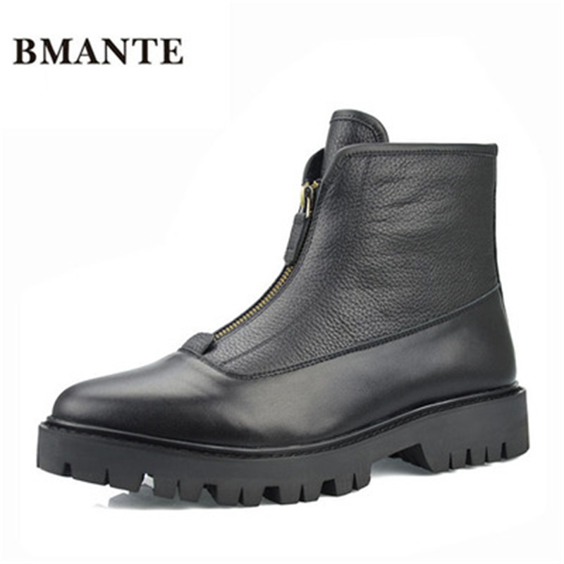 Genuine Leather Shoes Luxury Trainers Winter New Men Zip Flats Spring Black Flat With Male Adult Ankle Boots Casual Shoes owen seak women shoes high top ankle boots genuine leather luxury trainers sneaker casual lace up zip flat shoes black white big