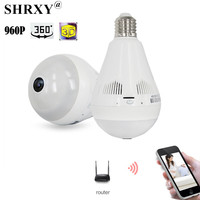 Bulb Light Wireless IP Camera Wi Fi FishEye 960P 360 Degree Mini CCTV Camera Home Security
