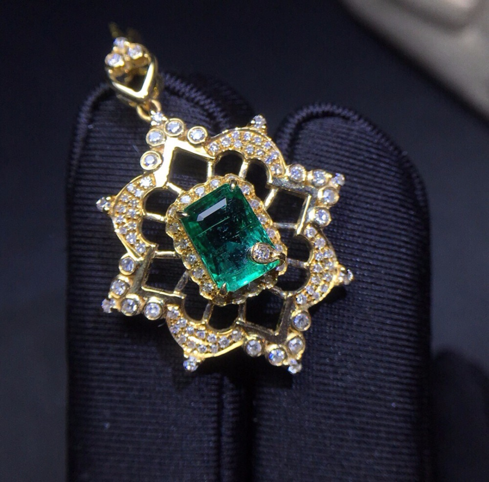 Fine Jewelry Real Pure 18 K Yellow Gold AU750 100% Natural Emerald Gemstones 1.45ct Female Pendants For Women Fine Necklace