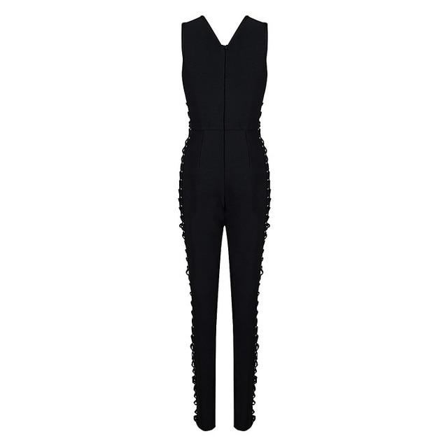 New Women 2016 Fashion Black Lace up Bodycon Bandage Jumpsuit Sexy Black Wholesale HL