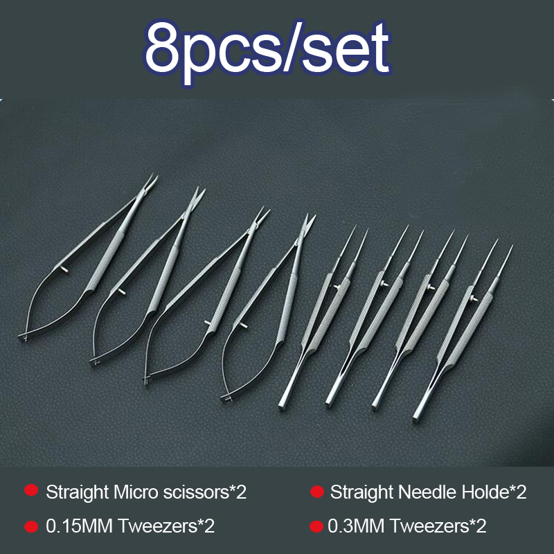 Купить с кэшбэком 4pcs/set ophthalmic microsurgical instruments 12.5cm scissors+Needle holders +tweezers stainless steel surgical tool