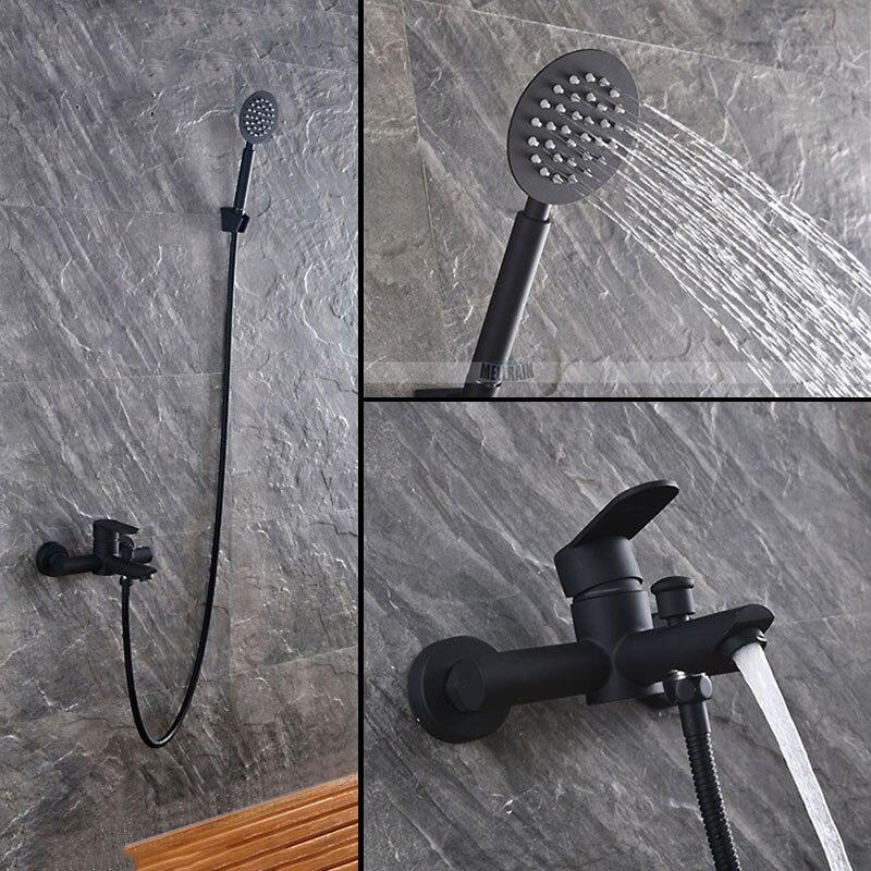 Noir couleur peinture salle de bains douche ensemble 304 matériel en acier inoxydable robinet de baignoire avec douche à main tête sous la sortie de l'eau