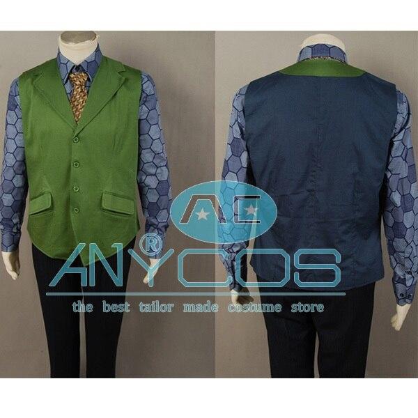 Batman Dark Knight Joker Hexagon Adult Men Shirt + Green Vest Halloween Movie Cosplay Costume Free shipping