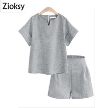 Zioksy 2017 New Loose Summer Women Sets Solid Color Short-Sleeved Tops 2 Pieces Sets Women Tracksuit Linen t shirts shorts