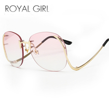 ROYAL GIRL Sunglasses Women Retro Designer Rimless Frame Gradient Lens