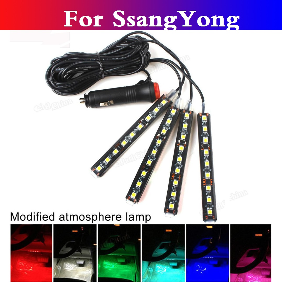 Car auto Decorative Light 9LED Atmosphere Lamp Charge For SsangYong Actyon Chairman Korando <font><b>Kyron</b></font> Musso Nomad Rexton Tivoli