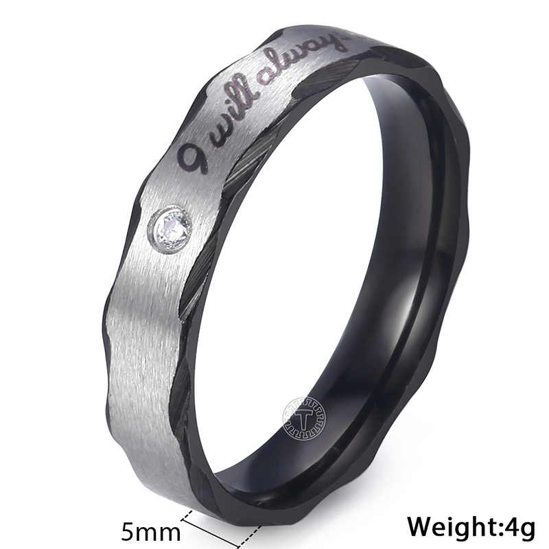 Trendsmax Mens Womens Wedding Ring Rose Gold Black Silver Tone Stainless Steel Paved CZ Band Engagement Rings For Men KKRM32