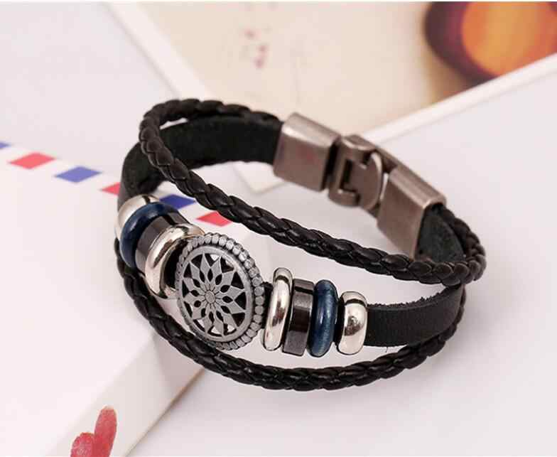 2017 New Fashion Cool Genuine Leather Wrap Bracelets Men Black Cowhide Braided Bracelets Bangles Wholesale Pulseira Masculina