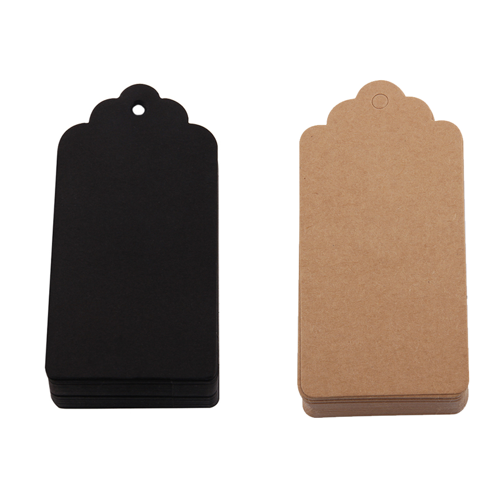100pcs Brown Kraft Paper Gift Tags Rectangular Black Natural Jute Twine Arts Apparel Garment DIY Crafts Price Luggage Name Tags