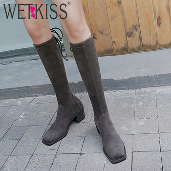 WETKISS Stretch Boots Women Thick High Heels Boot Square Toe Cross Tied Shoes Female Platform Knee High Shoes Ladies Winter 2019