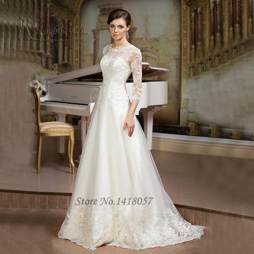 Gelinlik ivory a line wedding dress 2016 3 4 sleeves lace for Boutiques de robe de mariage kansas city