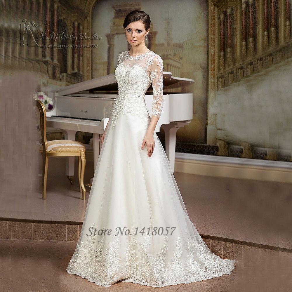 Gelinlik ivoire une ligne Robe de mariée 2016 3/4 manches dentelle robes de mariée appliques sur mesure Robe de Mariage