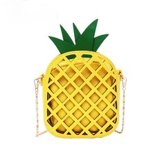 2019 Brand Leather Cute Handbag for Women Lovely Pineapple Bag with Chain Hollow Out Mini Women's Fruit Handbags purse for girls
