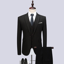 Mens Suits 2019 High Quality Black Classic Suit For Men Terno Masculino Slim Fit Formal 3 Pieces (Jacket+Pant+Vest)