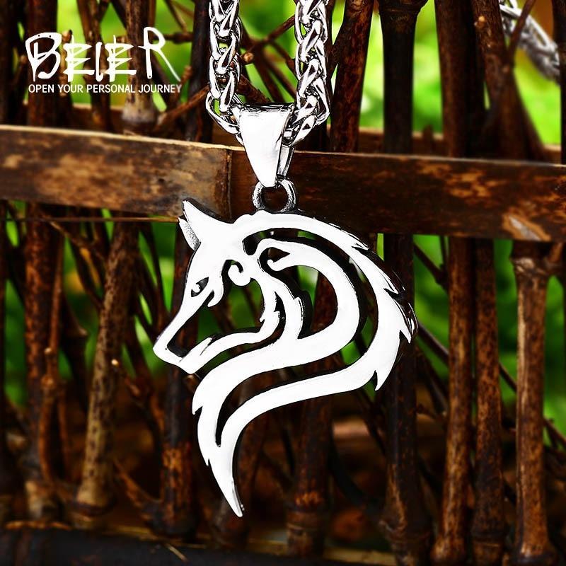 0881d99053e7 BEIER Punk 316L de acero inoxidable diseño Lobo colgante collar vikingo  hombres celta encanto joyería de