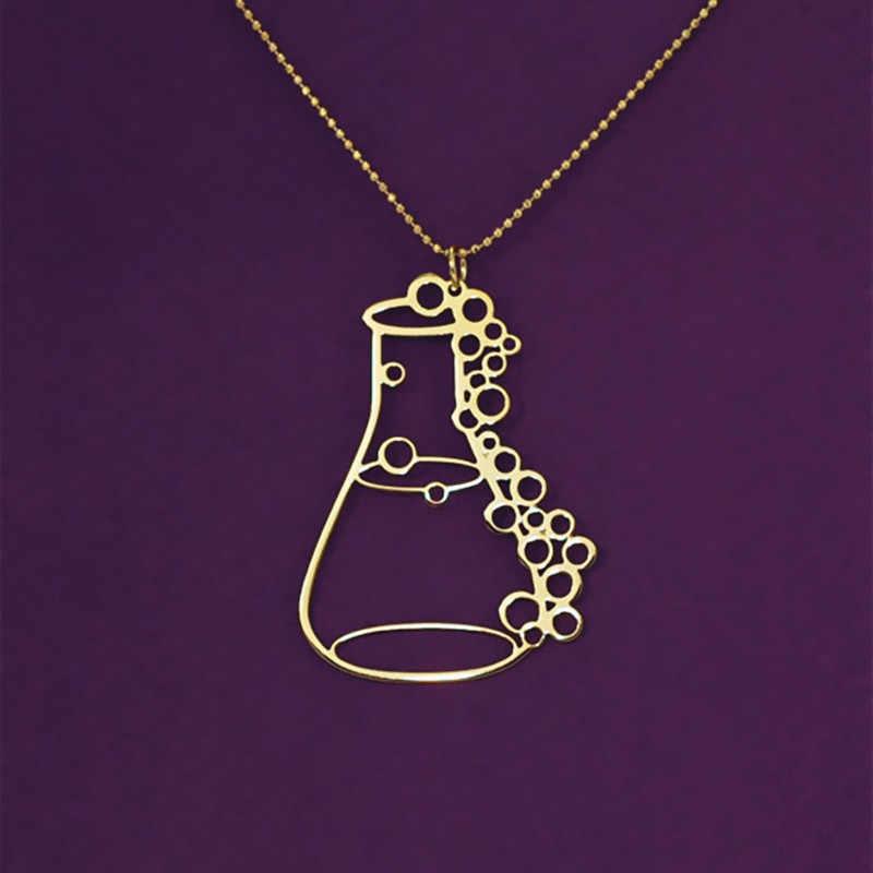 Erlenmeyer ขวดเคมีห้องปฏิบัติการ apothecary ขวดสำเร็จการศึกษาของขวัญ potion ขวด conical flask จี้ทอง/เงิน