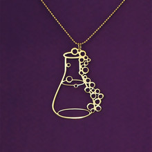 цены Erlenmeyer flask chemistry laboratory apothecary bottle graduation gift potion bottles conical flask pendant Gold/Silver plated