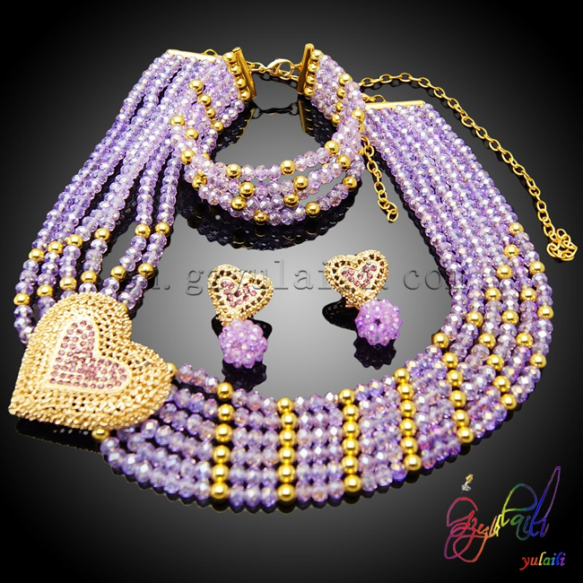 Wholesale fashion heart shape african beads jewelry set for women New style necklace for girls gothic style hollow out beads necklace for women