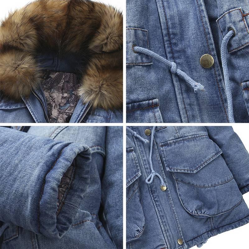 2019 chaquetas de mezclilla para mujer Abrigo con capucha de piel sintética de algodón grueso chaqueta vaquera larga-in Parkas from Ropa de mujer    3