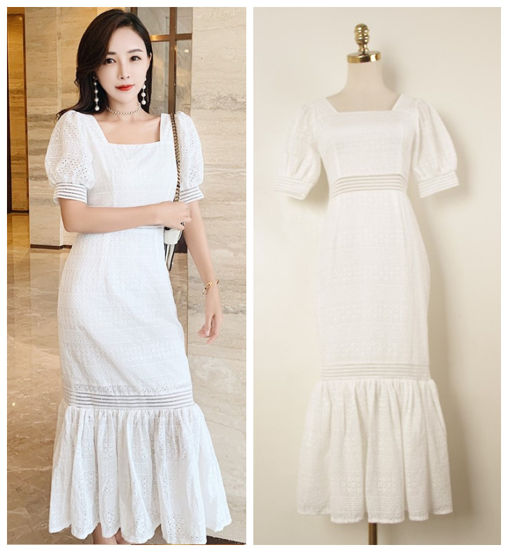 New 2019 Wear Temperament Famous Women s Slim Short sleeved Lace Summer Sexy Hollow out Button wrapped Fishtail Dress