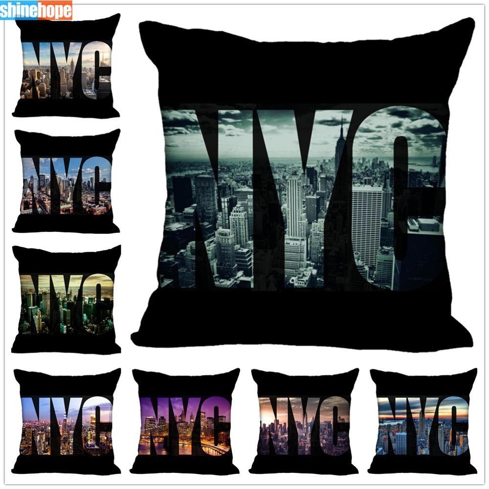 Custom View Pillow Cases New York City Square Pillowcase Christmas Zippered Pillow Cover 40*40cm,45*45cm(One Side)