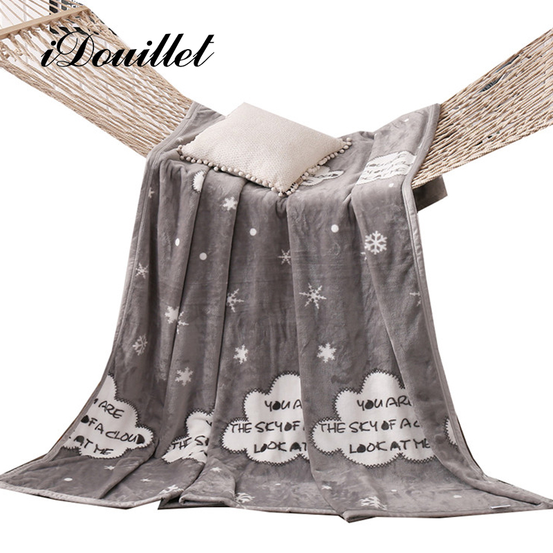 iDouillet Clouds & Snowflakes Warm Plush Fleece Blanket Children Bed Cover Gray Brown Blue 120x200 150x200 180x200 200x230cm
