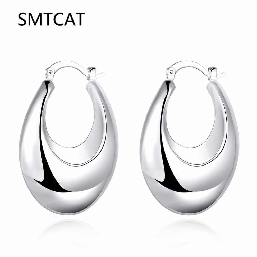 bb4beb6eb SMTCAT Trendy Silver Color U Shape Thick big Hoop Earrings For Women New  Fashion Female circle
