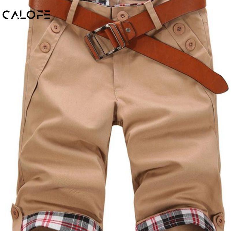 CALOFE 2018 Men Cotton Casual Confortable Shorts Men Summer Breathable Cargo Short With Button Half Short Trousers Bermuda