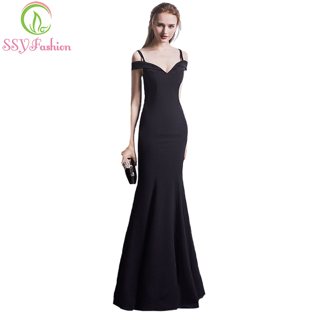 SSYFashion Summer New Simple Black Evening Dress Sexy Slim Mermaid Prom  Dress The Bride Banquet Floor-length Fishtail Party Gown a9ac2b3d3e58