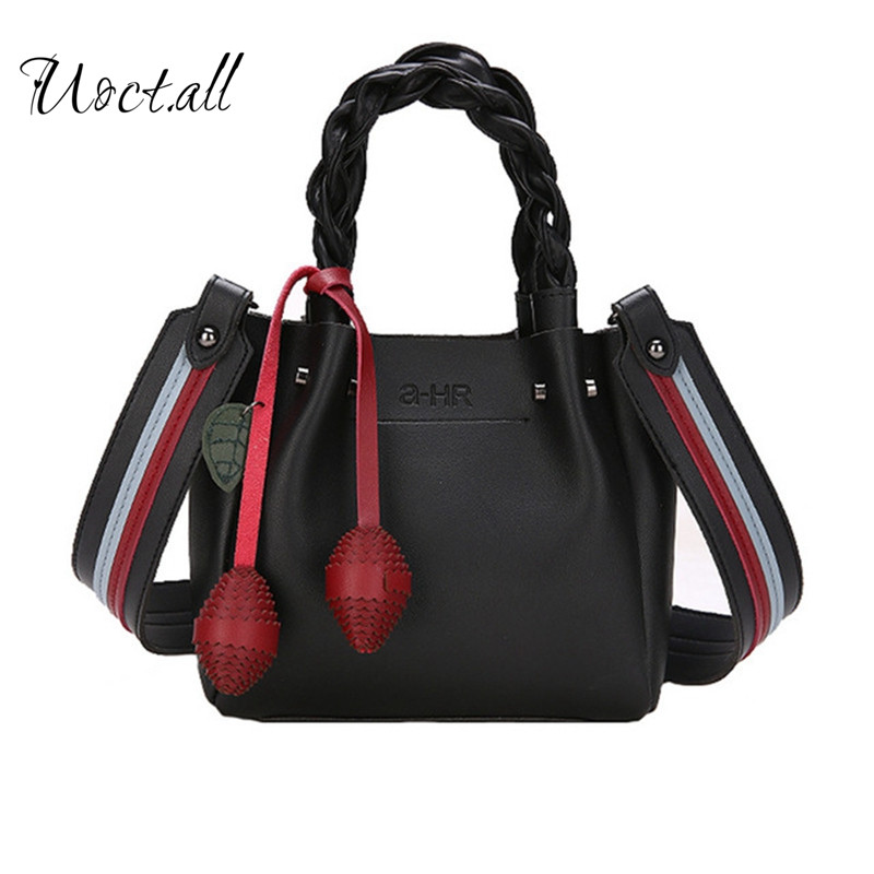 New Wide Strap Messenger Bags European American Women Handbags Hit color Bucket Handbag Fashion Knitted handle Bag 2 in 1