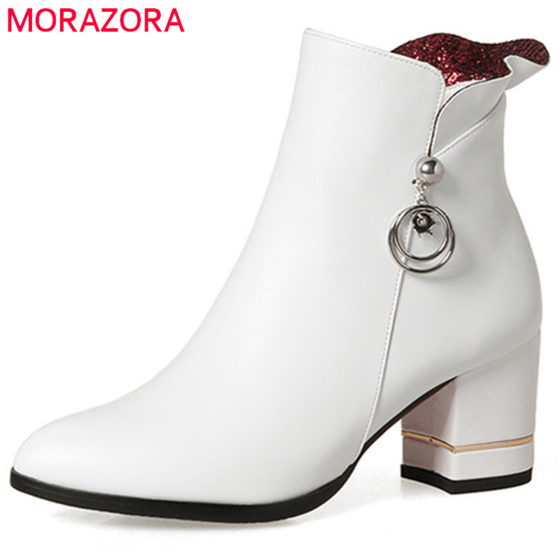 MORAZORA 2018 Hot sale womens boots in spring autumn high heels shoes woman PU zip solid ankle boots for women size 34-43 hot sale big size 32 44 fashion spring autumn women shoes sexy solid pu leather platform ankle strap high heels augz 958