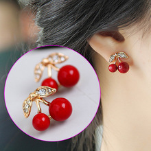 Fashion Cute Red Cherry Pendant Earrings Sweet Rhinestone Stud Earrings Wedding Party Jewelry Gift For Women CX203