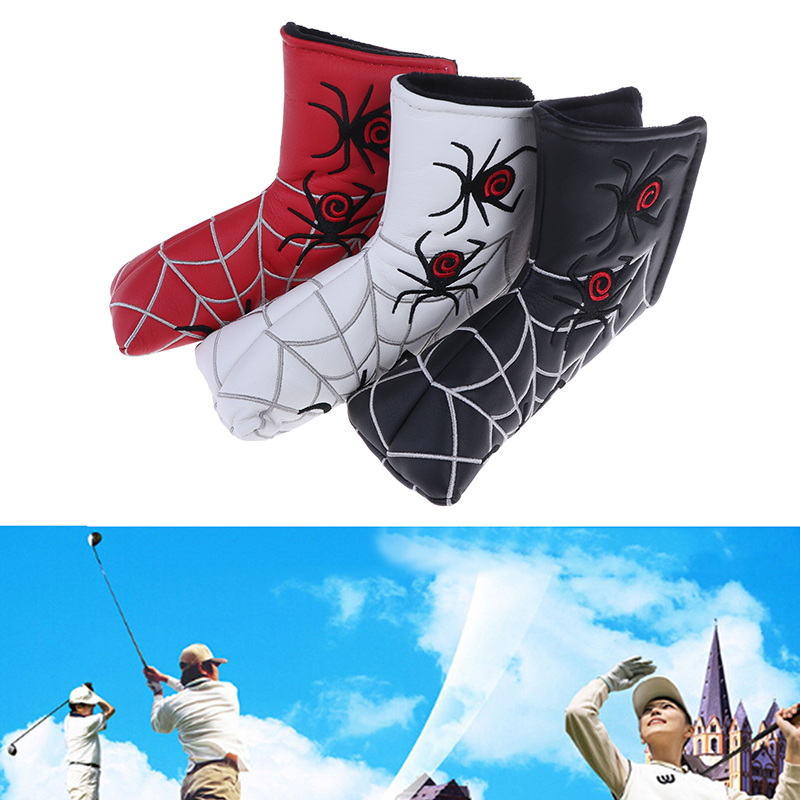 Golf Driver Head Cover Spider With Silver Web Golf Putter Cover Headcover For Blade Golf Putter Head Dustproof Covers