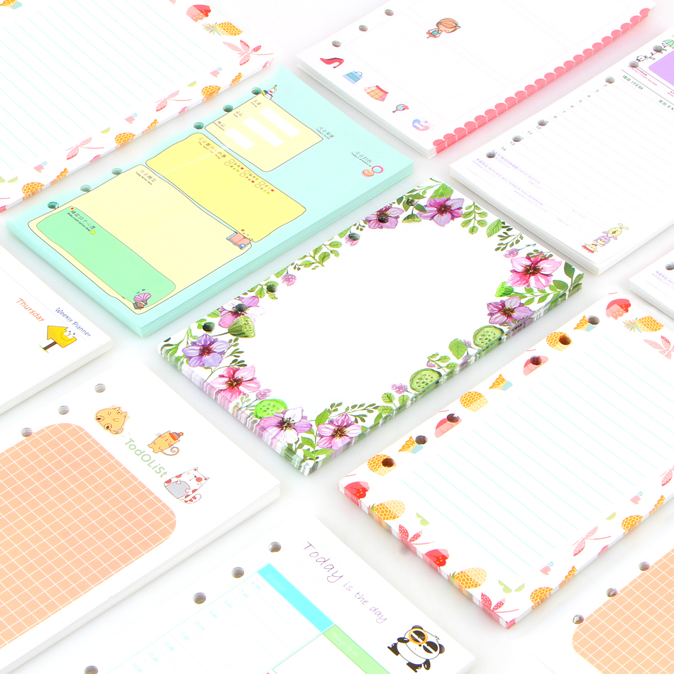 40 Sheet/set Coil A6a5 Colorful Refills Spiral Notebook Inner Pages 6 Holes Loose Leaf Diario Binder Paper Planner Filler Paper