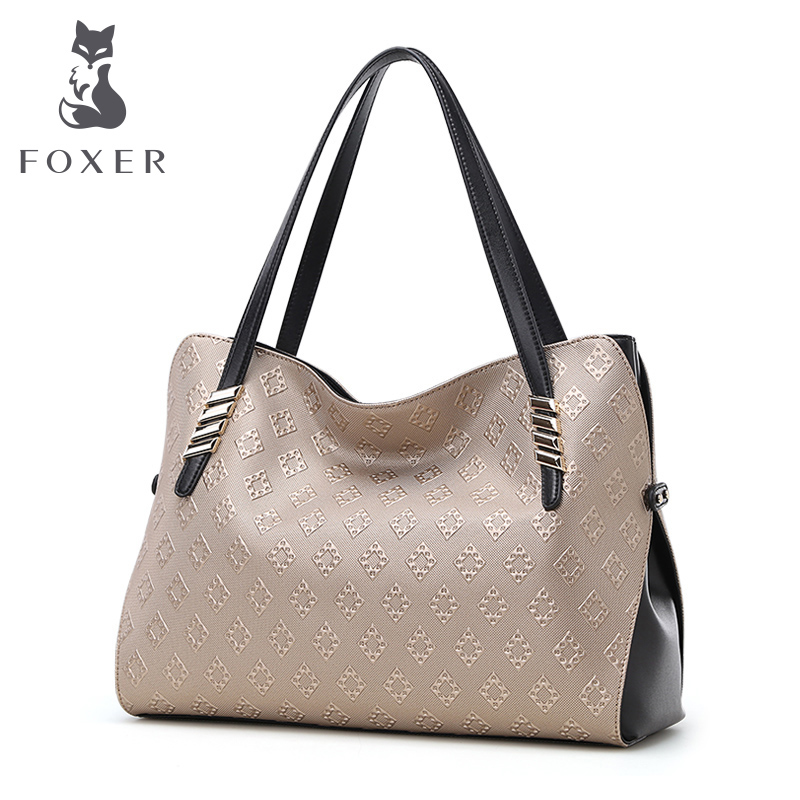 FOXER Brand Womens Cow Leather Shoulder Bags High Quality Womens Handbags Fashion Gold Ladies Favourite Handle Bag