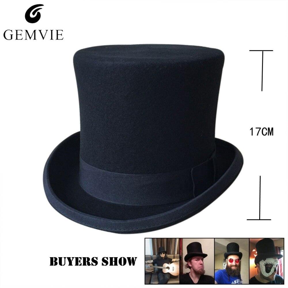 1f69535ba2ed3 Skup Classical Wool Top Hat Men President Cap Mad Hatter Retro Flat ...