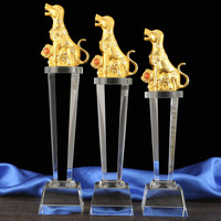 2019 Customize Custom Business gift office company match competition hunting Animal dog hound FU Mascot crystal statue Trophy