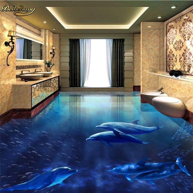 Us 19 8 40 Off Beibehang Kundenspezifisches Foto 3d Boden Malerei Tapeten Delphin Unterwasserwelt 3d 3d Bad Wohnzimmer Boden Malerei In Beibehang