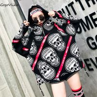 Punk Rock Skull Print Sweatershirt Hooded 2017 Women Black SPRING Pullover Hip hop Warm Tops for Winter LT149